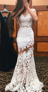 Sexy Mermaid Lace Open Back Popular Cheap Long Prom Dresses,HS140