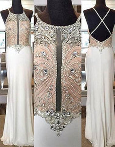 cheap beaded white long prom dress, open back evening dress, PD7280