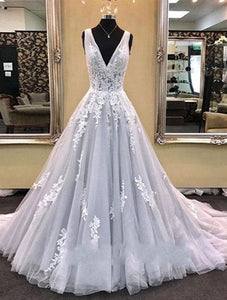 Elegant V Neck Tulle Applique wedding dress Long Prom Dresses,HS191