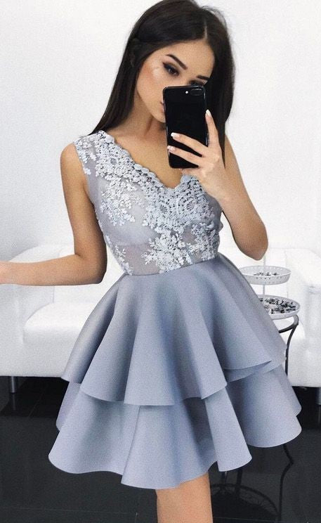 2018 mini homecoming dresses applique sleeveless v-neck short prom dresses,HS195
