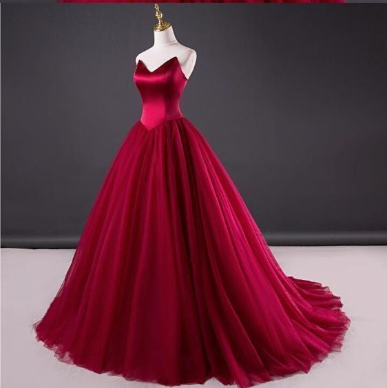 cheap v-neck prom dress strapless satin tulle a-line long evening dress,HS196