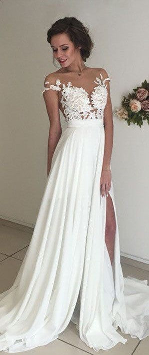 applique wedding dress chiffon short sleeve long prom dress with high slit,HS197