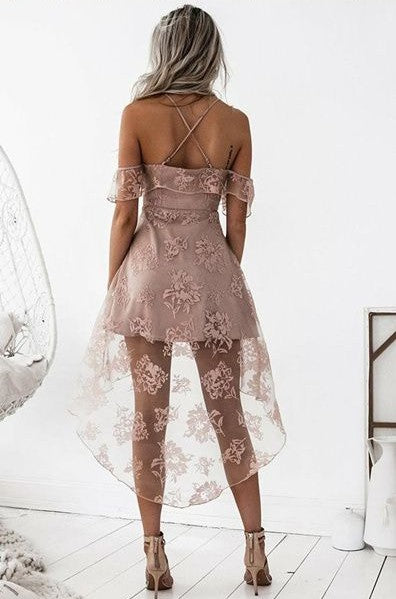 a-line high low homecoming dress off the shoulder blush sleeveless lace prom dress,HS199