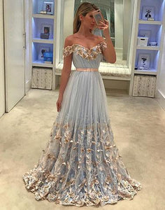 off shoulder charming light blue tulle A-line long prom dress, PD4713