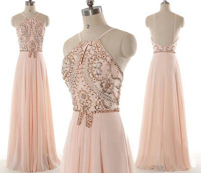 blush pink prom dress,chiffon prom dress, cheap evening dress, BD34