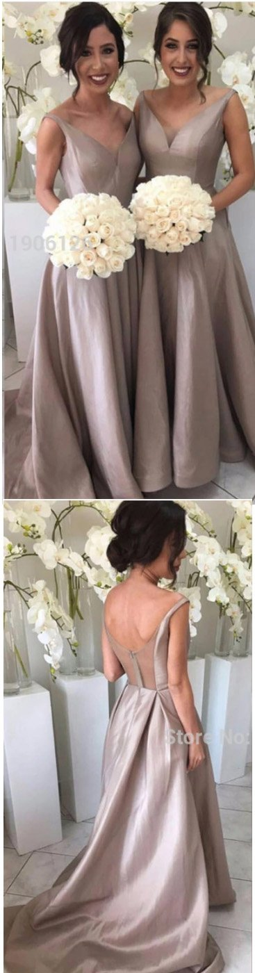 long gray v-neck A-line see through back 2017 cheap bridesmaid dresses,BD4140