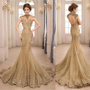 gold prom dress, long prom Dress, mermaid prom dress, open back prom dress, gorgeous prom dress, BD466