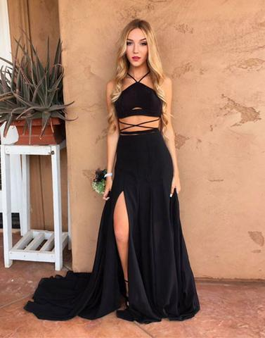 two pieces black side slit long prom dress, PD45673