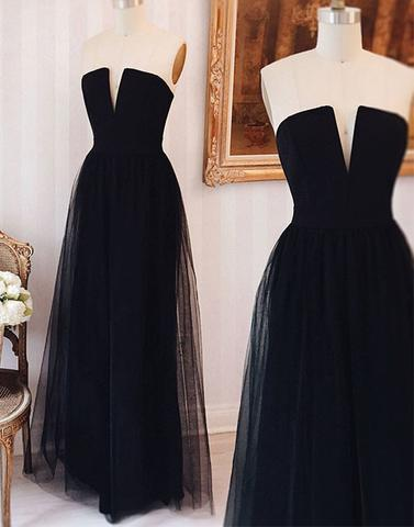 black prom dress, long prom dress, tulle prom dress, strapless prom dress, cheap evening dress, BD25634