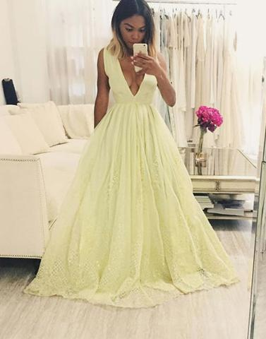 yellow prom dress, A-line prom dress, long prom dress, v-neck prom dress, 2017 prom dress, BD12646