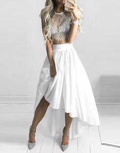 white two pieces hi-lo lace top prom dress, PD45691