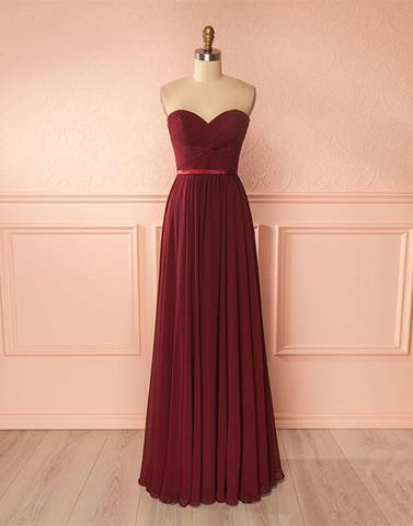 sweetheart chiffon simple cheap long Bridesmaid Dresses,PD9998