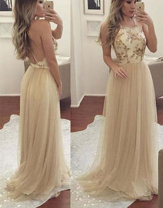 long tulle spaghetti straps cheap prom dress, BD2642