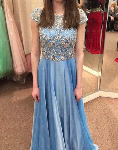 blue beaded top cap sleeves chiffon long prom dress, PD45670