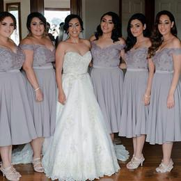 gray Bridesmaid Dress, tea length Bridesmaid Dress,off shoulder Bridesmaid Dress,cheap Bridesmaid Dress, BD5204