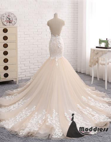 2018 Backless Mermaid Scoop Lace Long Sexy prom dresses,Wedding Dresses,HS420