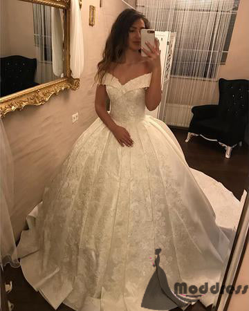 2018 Ivory Lace V-neck Satin Wedding Dresses Ball Gowns,HS560