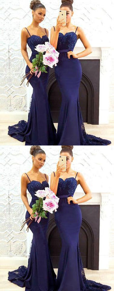 2018 Mermaid dark blue lace long prom dress sleeveless bridesmaid dress cocktail dress