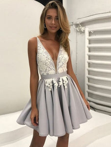2018 v-neck homecoming dress lace sleeveless satin short prom dress,HS227