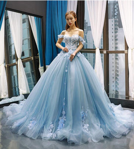 Ball Gown Sweetheart Cape Sleeves Lace Tulle Prom Dresses Evening Dresses,MD202024