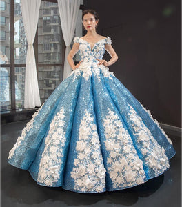 Ball Gown V Neck Cape Sleeves Lace Organza Prom Dresses Evening Dresses,MD202025
