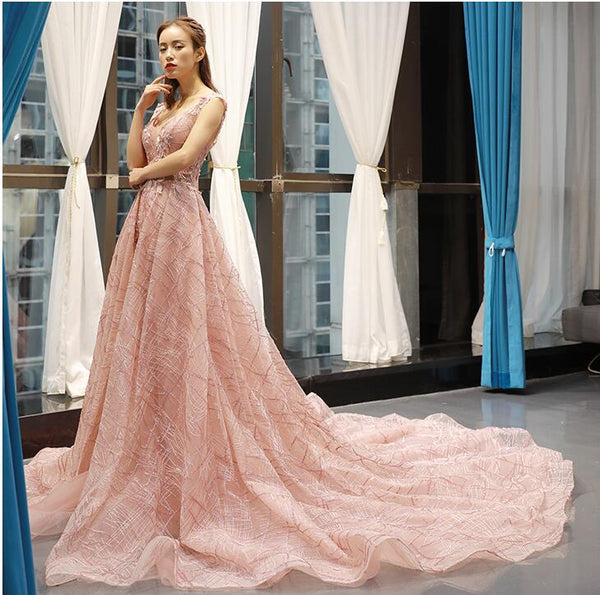 A Line Cap Sleeves V Neck Applique Tulle Prom Dresses Evening Dresses,MD202035