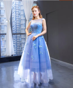 A Line Cap Sleeves Illusion Applique Tulle Prom Dresses Evening Dresses,MD202036