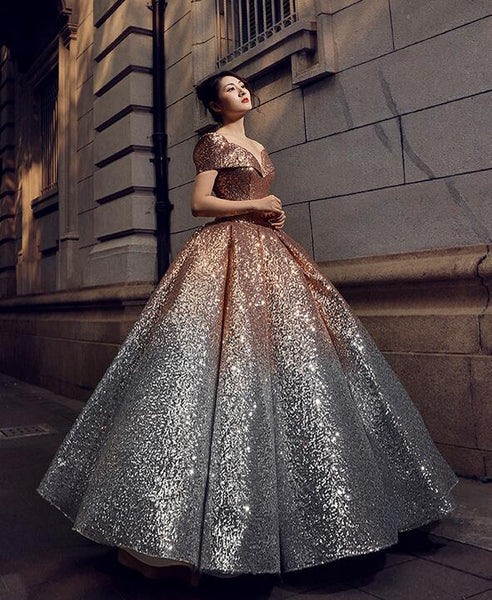 Ball Gown Cape Sleeves V Neck Sequin Prom Dresses Evening Dresses,MD202038