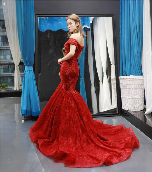 Mermaid Cape Sleeves Off The Shoulder Lace Tulle Prom Dresses Evening Dresses,MD202039