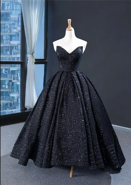 Ball Gown Cape Sleeves Sweetheart Black Satin Prom Dresses Evening Dresses,MD202041