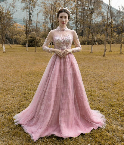 A Line Long Sleeves High Neck Lace Tulle Prom Dresses Evening Dresses,MD202047