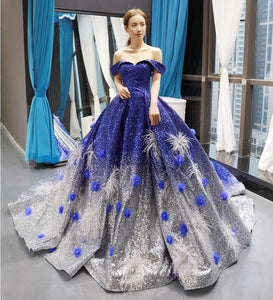 Ball Gown Cape Sleeves Sweetheart Sequin Applique Prom Dresses Evening Dresses,MD202048