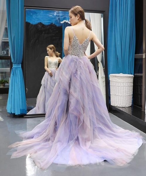 A Line Spaghetti Strap V Neck Beading Tulle Prom Dresses Evening Dresses,MD202049