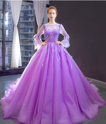 Ball Gown Long Sleeves Round Neck Lace Tulle Prom Dresses Evening Dresses,MD202051
