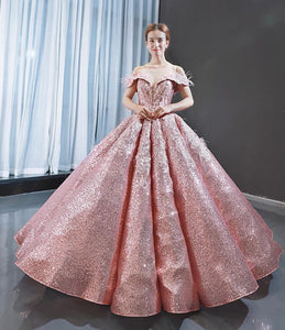 Ball Gown Cape Sleeves V Neck Sequin Prom Dresses Evening Dresses,MD202053