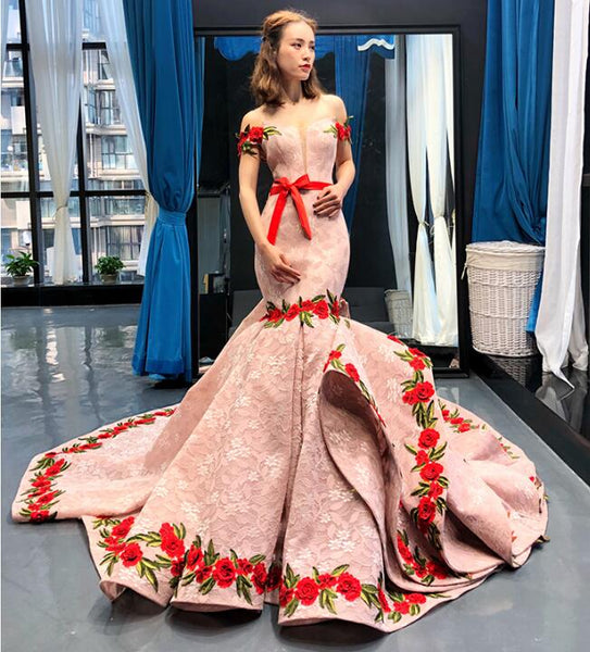Mermaid Cape Sleeves V Neck Lace Satin Prom Dresses Evening Dresses,MD202054