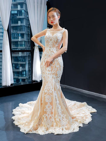 Mermaid Cap Sleeves V Neck Lace Satin Prom Dresses Evening Dresses,MD202055