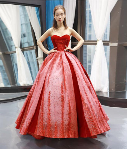 Ball Gown Sleeveless Sweetheart Lace Satin Prom Dresses Evening Dresses,MD202058