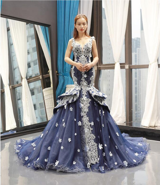 Mermaid Cap Sleeves V Neck Applique Tulle Prom Dresses Evening Dresses,MD202059