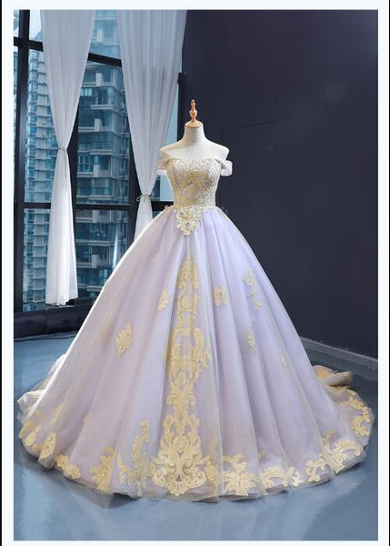 Ball Gown Cape Sleeves Off The Shoulder Lace Tulle Prom Dresses Evening Dresses,MD202070