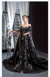A Line Cape Sleeves V Neck Lace Tulle Prom Dresses Evening Dresses,MD202074