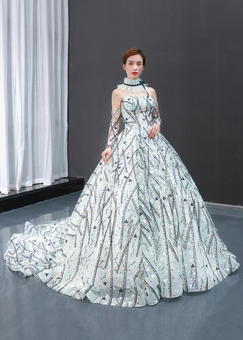 Ball Gown Long Sleeves Sweetheart Lace Organza Prom Dresses Evening Dresses,MD202076