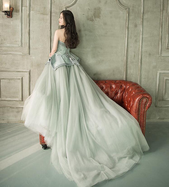 Ball Gown Sleeveless Sweetheart Beading Tulle Sweep Train Prom Dresses Evening Dresses,MD202077