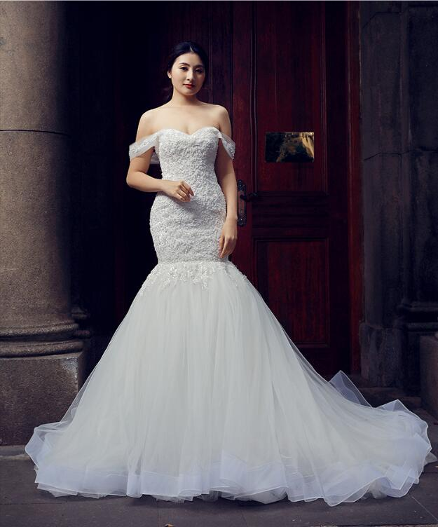 Mermaid Cape Sleeves Sweetheart Lace Tulle Sweep Train Weding Dresses Evening Dresses,MD202078