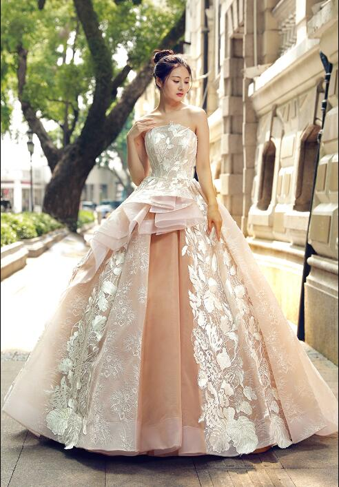 Ball Gown Sleeveless Off The Shoulder Lace Tulle Sweep Train Prom Dresses Evening Dresses,MD202079