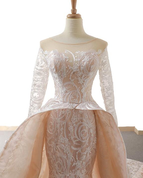 Mermaid Long Sleeves Round Neck Lace Organza Prom Dresses Evening Dresses,MD202082