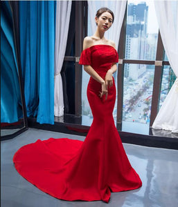 Mermaid Cape Sleeves Sleeveless Beading Elastic Satin Prom Dresses Evening Dresses,MD202087