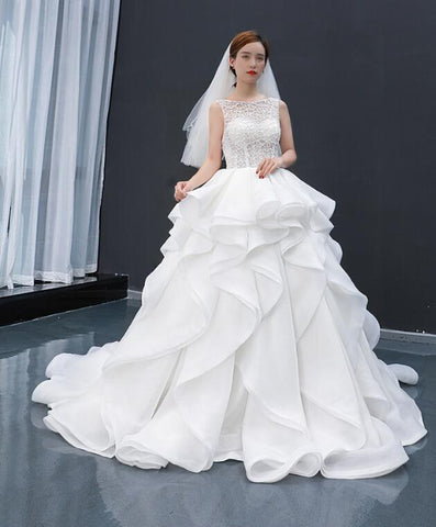 Ball Gown Cap Sleeves Sweetheart Lace Satin Wedding Dresses Evening Dresses,MD202090