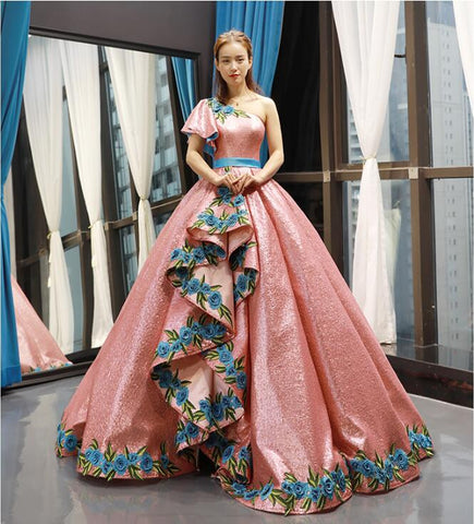 Ball Gown Cap Sleeves One Shoulder Applique Sequin Prom Dresses Evening Dresses,MD202093