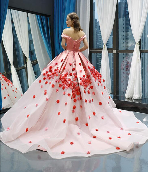 Ball Gown Cap Sleeves V Neck Applique Organza Prom Dresses Evening Dresses,MD202094